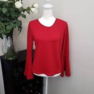 NWOT CeCe Red Bell Sleeve Keyhole Long Sleeved Top